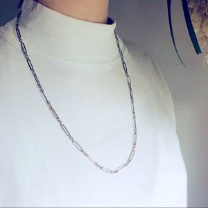 Simple Silver Tone Chain Necklace Long
